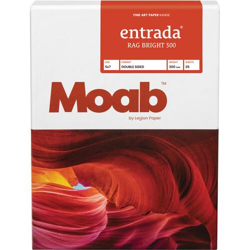 """Moab Entrada Rag Bright 300 (5 x 7"""", 25 Sheets)"""