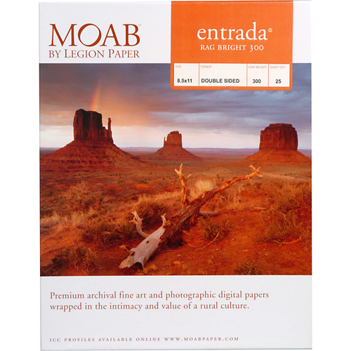 "Moab Entrada Rag Bright 300 Paper for Inkjet (8.5x11"", 25 Sheets)"
