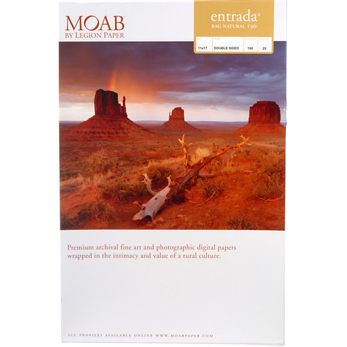 "Moab Entrada Rag Natural 190 Paper (11 x 17"", 25 Sheets)"