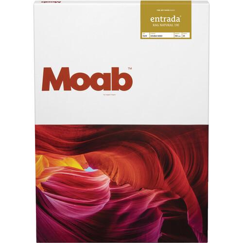 """Moab Entrada Rag Natural 190 Paper for Inkjet (13x19"""", Super-B, 25 Sheets)"""