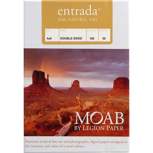 "Moab Entrada Rag Natural 190 (Matte, 2-sided) Paper - 4x6"" - 50 Sheets"