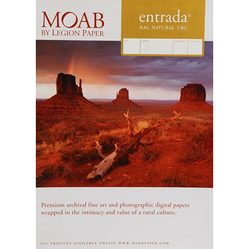 "Moab Entrada Rag Natural 190 (Matte, 2-sided) Paper - 7x10"" - 25 Sheets"