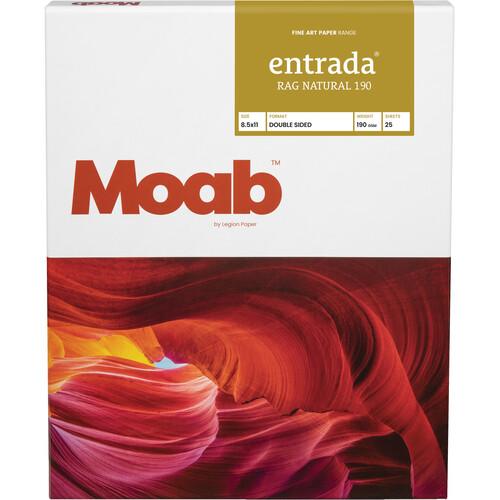 "Moab Entrada Rag Natural 190 Paper (8.5 x 11"", 25 Sheets)"