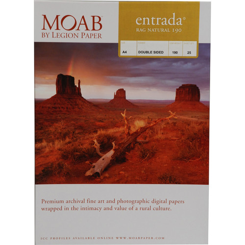 Moab Entrada Rag Natural 190 (Matte, 2-sided) Paper - A4-size - 25 Sheets