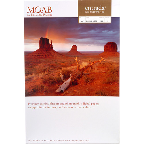 "Moab Entrada Rag Natural 300 (Matte, 2-sided) Paper - 11x17"" (B) - 25 Sheets"