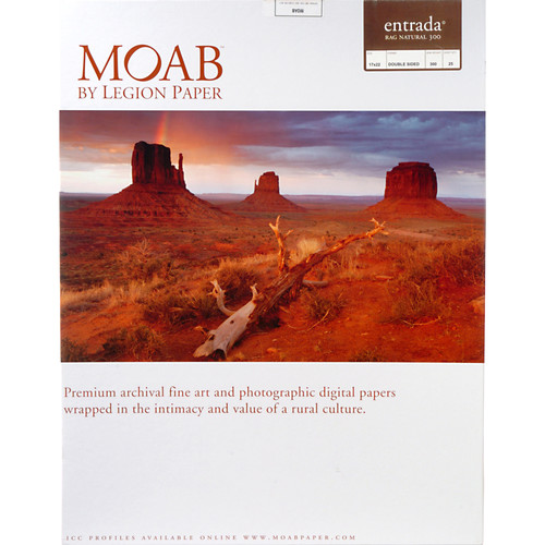 "Moab Entrada Rag Natural 300 (Matte, 2-sided) Paper - 17x22"" - 25 Sheets"