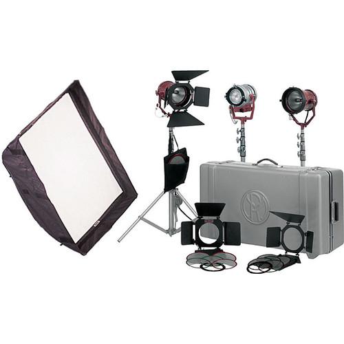 "Mole-Richardson Tweenie-Mickey Mole Combo 3 Light Pro Kit - consists of: 1- Tweenie 650W Fresnel, 2- Mickey 1K Open Face Lights, 24 x 32"" Softbox, Barndoors, Scrims, Gels, Light Stands, Hard Case, Bulbs - 2650 Total Watts"