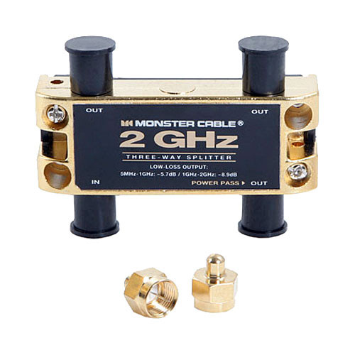 Monster Cable 3 Way - 2GHz Low-Loss RF Splitter for TV & Satellite MKII