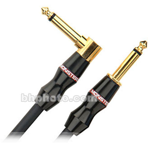 "Monster Cable Bass 1/4"" Male to 1/4"" Angled Male Instrument Cable - 12'"