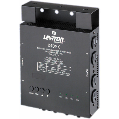 NSI / Leviton D4-DMX 4 Channel Programmable Dimmer Pack - 3-Pin XLR (120V)