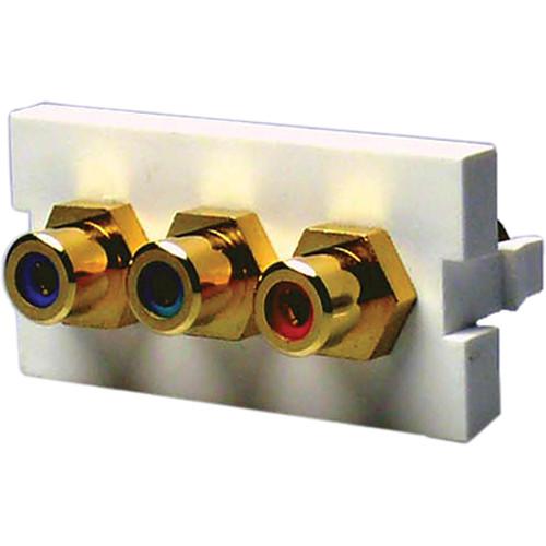 NTW 3UN-FFRGB-G 3 x RCA Female to Female Coupler Adapter Module (1U)