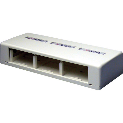 NTW 3UN-SB3W UniMedia Large Surface Mount Box with 3 Outlets