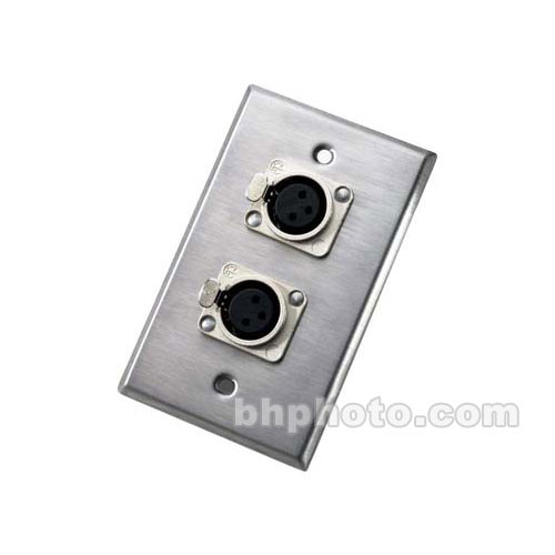 Neutrik 203F Wallplate w/Dual 3-Pin XLR-F Connectors