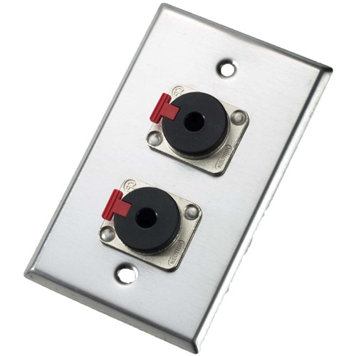 Neutrik 203P Single Gang Wallplate with Female Locking Jacks