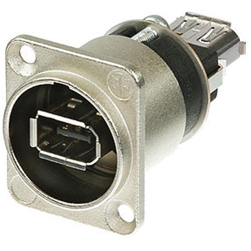 Neutrik FireWire 6 Feed-Through Adapter in D-Shape Housing (Nickel)