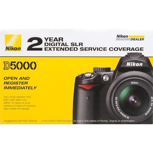 Nikon 2-Year Extended Service Coverage (ESC) for the Nikon D5000 Digital SLR Camera
