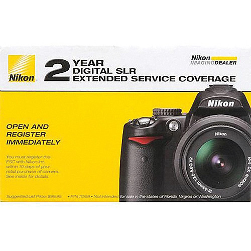 Nikon 2-Year Extended Service Coverage (ESC) for the Nikon D3000, D3100, D3200, D3300, D3400, D5000, D5100, D5200, D5300 and D5500 Digital SLR Cameras