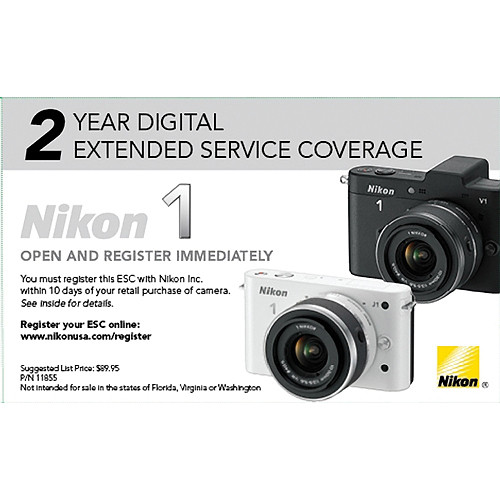 Nikon 2-Year Digital Extended Service Coverage for Nikon 1 Series Cameras