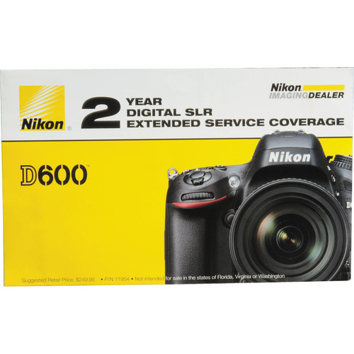 Nikon 2-Year Extended Service Coverage for Nikon D600 and D610 DSLR Cameras