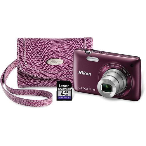 Nikon Coolpix S4300 Digital Camera Kit (Plum)