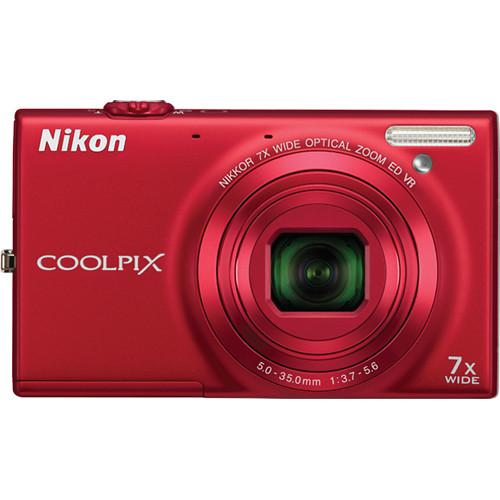 Nikon Coolpix S6100 Digital Camera (Red)