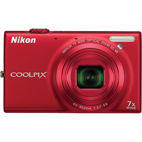 Nikon Coolpix S6100 Digital Camera (Red)
