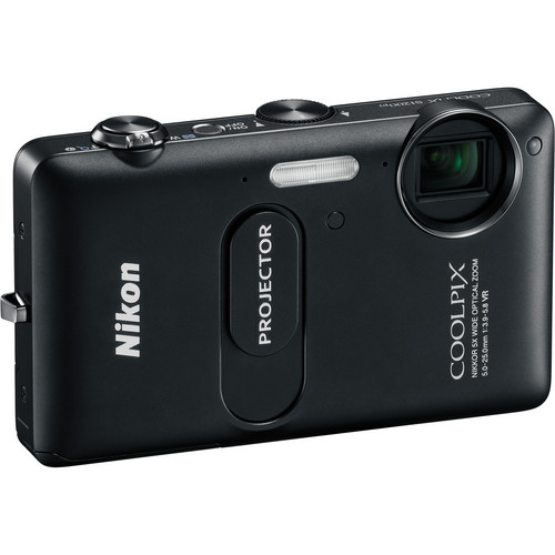 Nikon CoolPix S1200pj Digital Camera With Built-In Projector (Black)