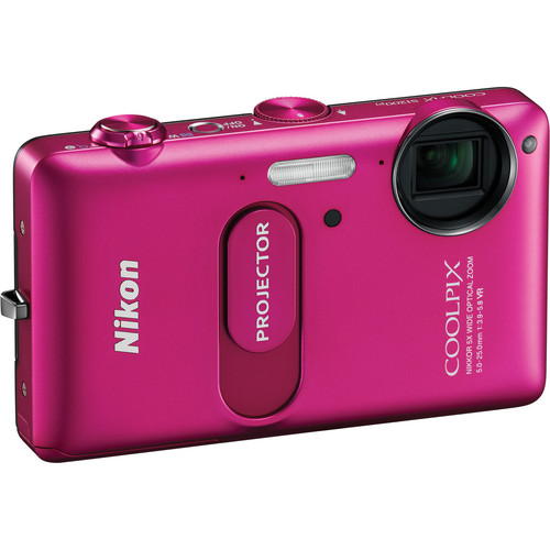 Nikon CoolPix S1200pj Digital Camera With Built-In Projector (Pink)