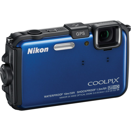 Nikon Coolpix AW100 Waterproof Digital Camera (Blue)