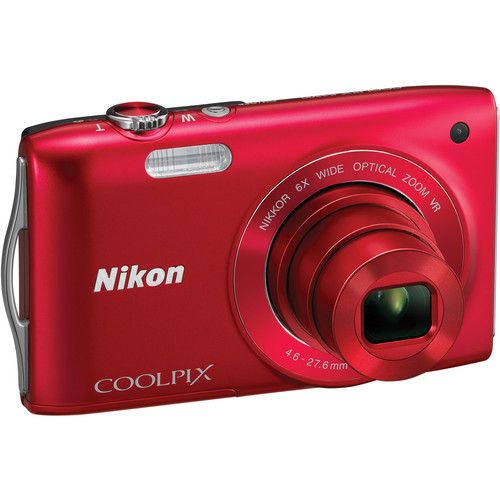Nikon Coolpix S3300 Digital Camera (Red)