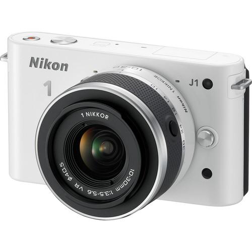 Nikon 1 J1 Mirrorless Digital Camera with 10-30mm VR Zoom Lens (White)