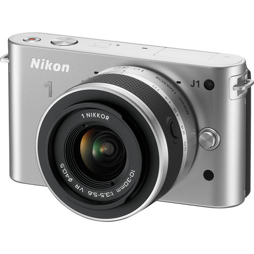Nikon 1 J1 Mirrorless Digital Camera with 10-30mm VR Zoom Lens (Silver)