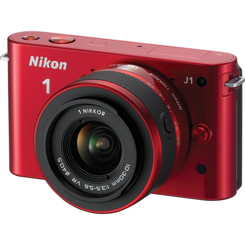 Nikon 1 J1 Mirrorless Digital Camera with 10-30mm VR Zoom Lens (Red)