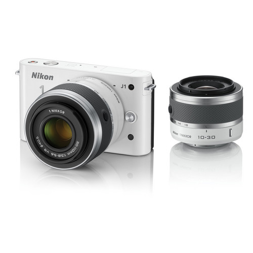 Nikon 1 J1 Mirrorless Digital Camera with 10-30mm / 30-110mm Lens (White)