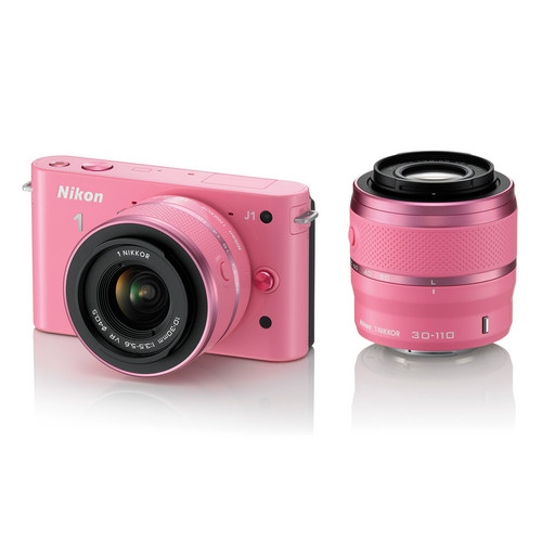 Nikon 1 J1 Mirrorless Digital Camera with 10-30mm / 30-110mm Lens (Pink)