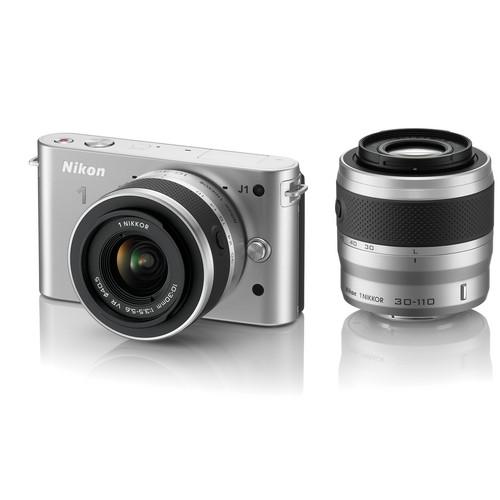 Nikon 1 J1 Mirrorless Digital Camera with 10-30mm / 30-110mm Lens (Silver)