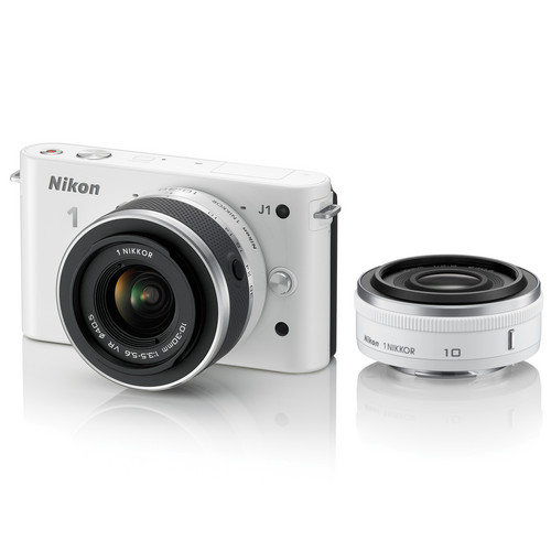 Nikon 1 J1 Mirrorless Digital Camera with 10mm WA/10-30mm Zoom Lens (White)
