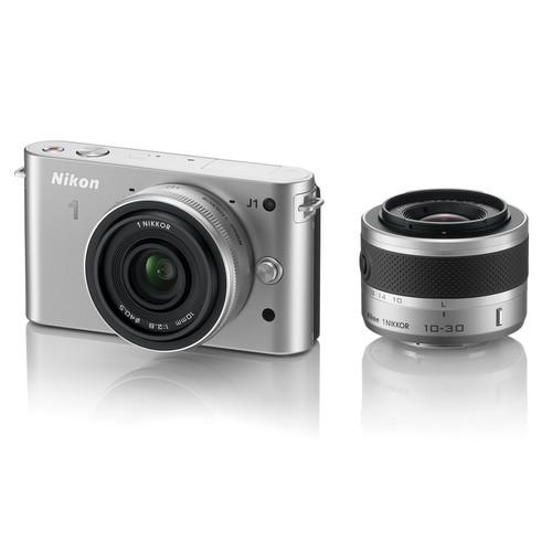 Nikon 1 J1 Mirrorless Digital Camera with 10mm WA/10-30mm Zoom Lens (Silver)