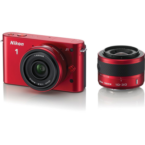 Nikon 1 J1 Mirrorless Digital Camera with 10mm WA/10-30mm Zoom Lens (Red)