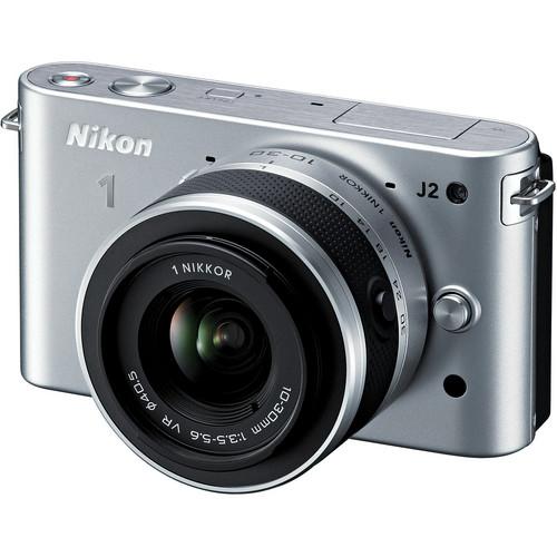 Nikon 1 J2 Mirrorless Digital Camera with 10-30mm VR Zoom Lens (Silver)