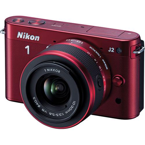 Nikon 1 J2 Mirrorless Digital Camera with 10-30mm VR Zoom Lens (Red)