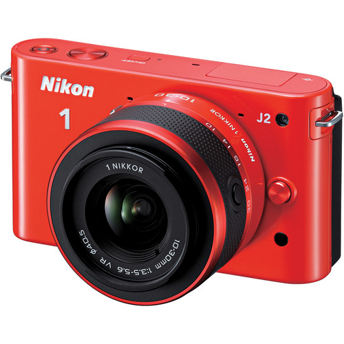 Nikon 1 J2 Mirrorless Digital Camera with 10-30mm VR Zoom Lens (Orange)