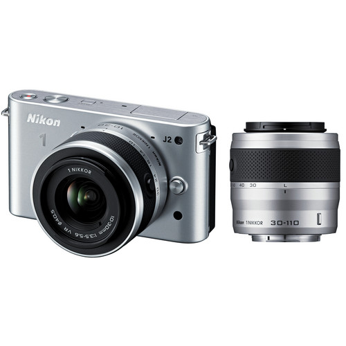 Nikon 1 J2 Mirrorless Digital Camera with 10-30mm & 30-110mm Lens (Silver)