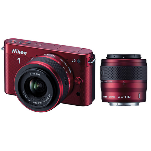 Nikon 1 J2 Mirrorless Digital Camera with 10-30mm & 30-110mm Lens (Red)