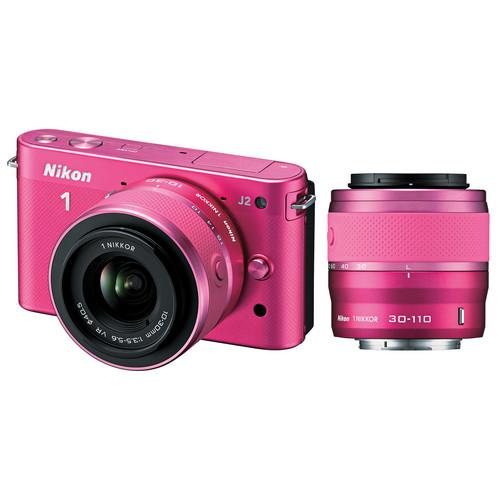Nikon 1 J2 Mirrorless Digital Camera with 10-30mm & 30-110mm Lens (Pink)
