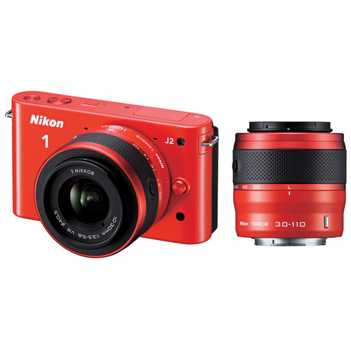 Nikon 1 J2 Mirrorless Digital Camera with 10-30mm & 30-110mm Lens (Orange)