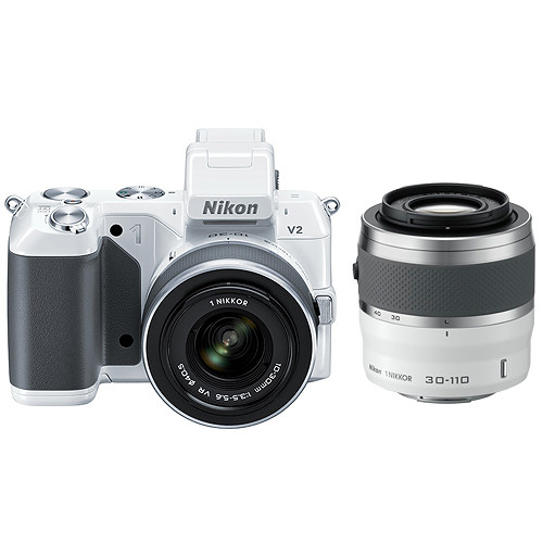 Nikon 1 V2 Mirrorless Digital Camera with 1 NIKKOR VR 10-30mm f/3.5-5.6 and 30-110mm f/3.8-5.6 Lens Kit (White)