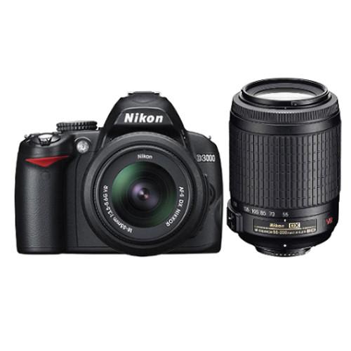 nikon d3000 slr digital camera with 18 55mm vr amp 55 200mm