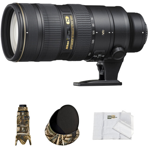 Nikon AF-S 70-200mm f/2.8G ED VR II Lens with Realtree Max4 HD LensCoat Cover, Hoodie & Cleaning Kit