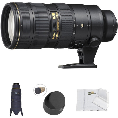 Nikon AF-S 70-200mm f/2.8G ED VR II Lens with Black LensCoat Cover, Hoodie & Cleaning Kit